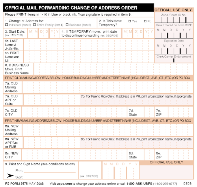 Form 3575 Usps Change Of Address Online Postal Service Mailing